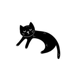 Cute sleeping black cat isolated element feline vector