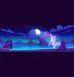 cute unicorn on sea beach at night vector image