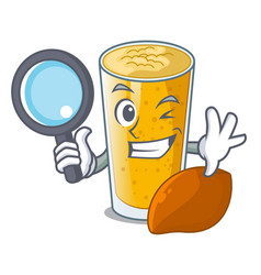 detective lassi mango in a cartoon bottle vector image