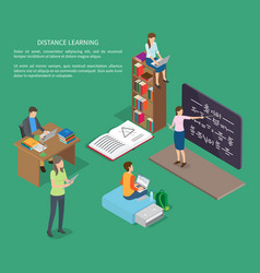 Distance learning of people web banner vector