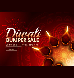 diwali sale voucher with beautiful diya decoration vector image