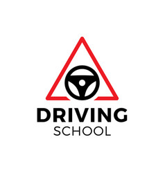 Driving school logo car wheel with road sign logo vector