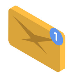 Email status delivery icon isometric style vector