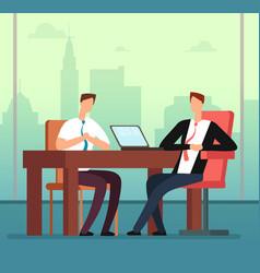 employee man and interviewer boss meeting vector image
