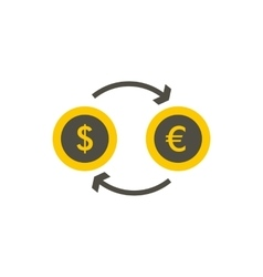 Euro dollar euro exchange icon flat style vector image