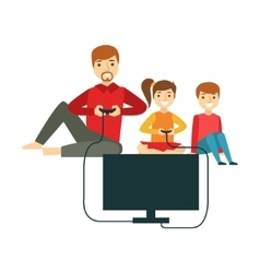 Father Playing Video Games With Kids Happy Family vector