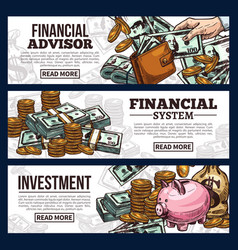 finance and investment banner with money currency vector image