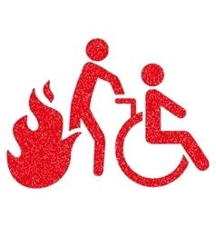 Fire Patient Evacuation Grainy Texture Icon vector image