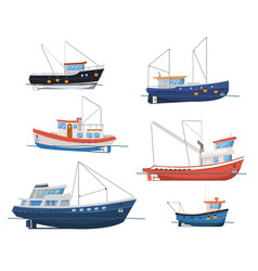 Fishing boats side view on white background vector