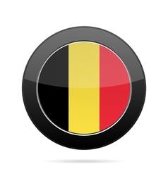 Flag of Belgium Shiny black round button vector image