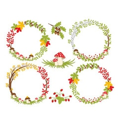 Forest Autumn Wreath vector