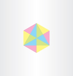 geometric colorful hexagon with triangles icon vector image vector image