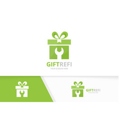Gift logo combination present and repair vector