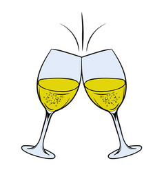 glasses white wine icon cartoon vector image