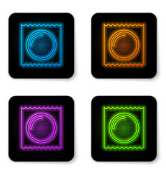 glowing neon condom in package safe sex icon vector image