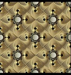 gold textured geometric greek 3d seamless vector image