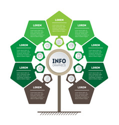 Green infographics tree of development and growth vector