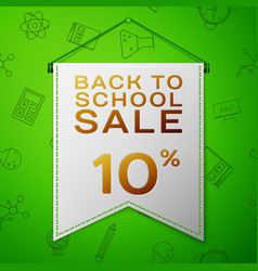 grey pennant with back to school sale ten percent vector image