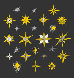 hand drawn christmas stars and bethlehem star vector image