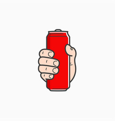 Hand hold can male holding aluminium red vector