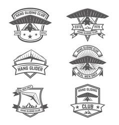 Hang gliding club emblems design elements vector