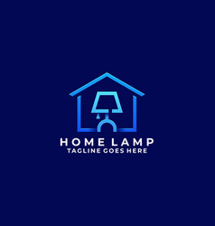 home with lamp sleep design concept template vector image