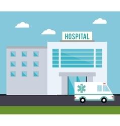 Hospital ambulance building design vector