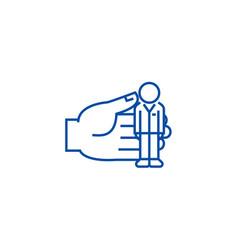 human recources key person line icon concept vector image