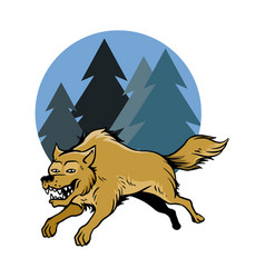 Jumping wolf and pine trees vector