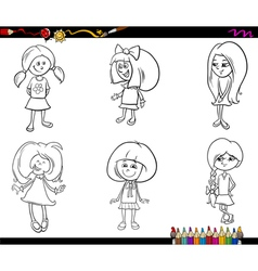 kid girls set coloring book vector image