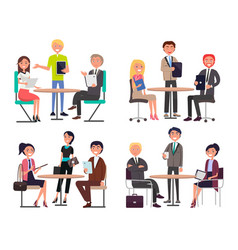 Men and women around tables discuss work issues vector