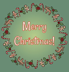 merry christmas holly and candies wreath vector image