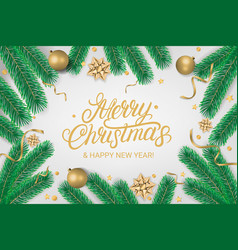 merry christmas party lettering text flyer vector image