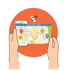 Mobile app for gps navigation vector