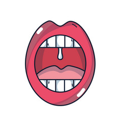 Mouth with cold infection sickness vector
