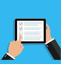 Online survey in tablet checklist in form app vector