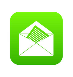 Open envelope with sheet of paper icon digital vector