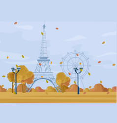 Paris autumn season park fall poster vector