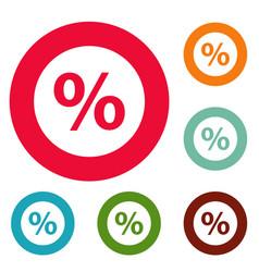 percent sign icons circle set vector image
