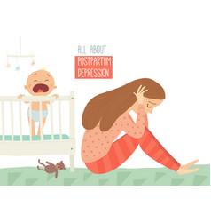 Postpartum depression postnatal depression baby vector