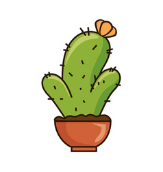 pot with desert plant vector image