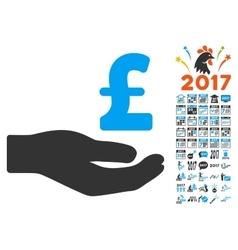 Pound Donation Icon With 2017 Year Bonus Symbols vector