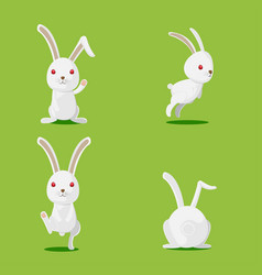 rabbit cute cartoon character set vector image