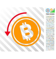 Refund bitcoin cash flat icon with bonus vector