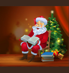 santa claus reading the book vector image