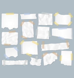 Scraps paper on adhesive tape vintage torn papers vector