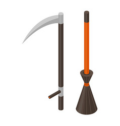 scythe and broom icon isometric style vector image