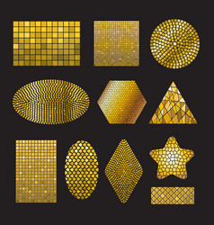 set golden mosaic ceramic forms vector image
