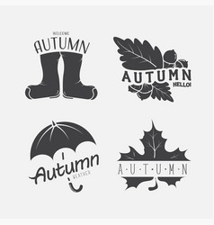 Set of autumn black emblems on the white vector