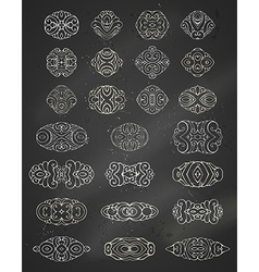 Set of chalk geometric ornaments vector
